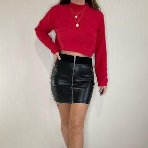 Wilfred Free Faux Leather Zipper Mini Skirt Size 8